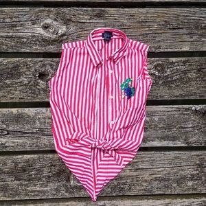 Striped stripes pink white shirt top Vest grapes